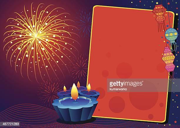 firework dispaly greeting - diwali stock illustrations