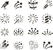 Firework icon set , vector