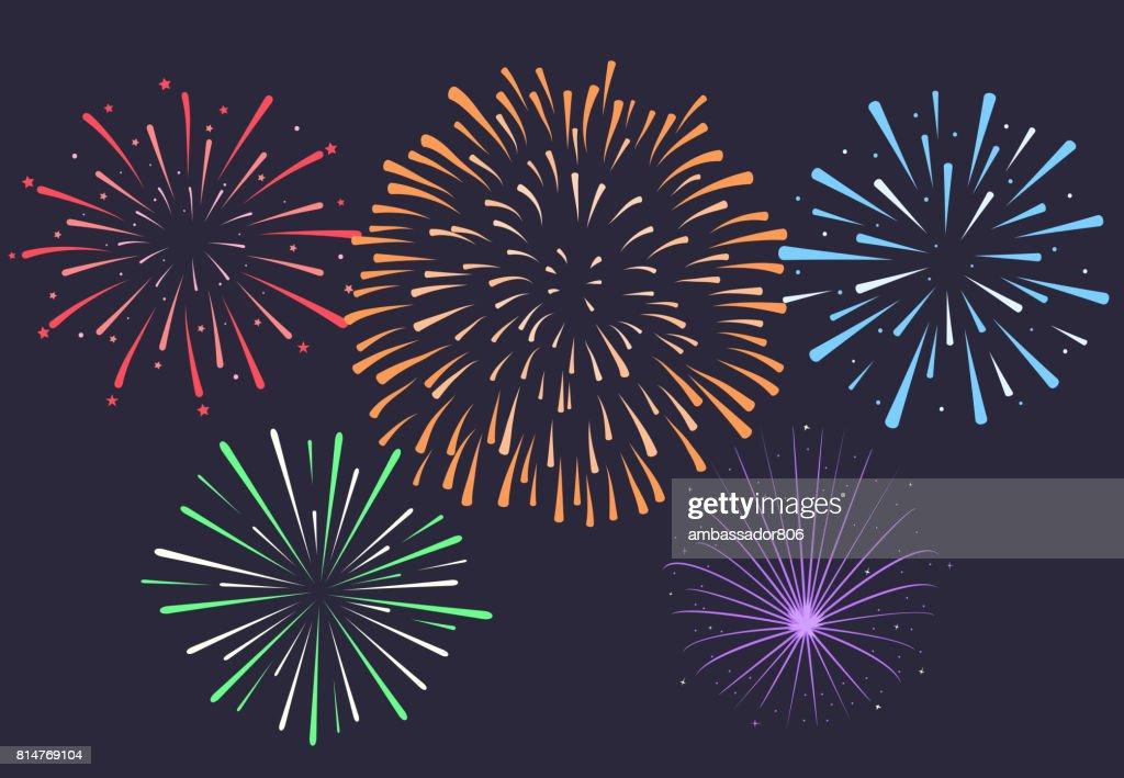 Firework on night background, anniversary bursting fireworks. V
