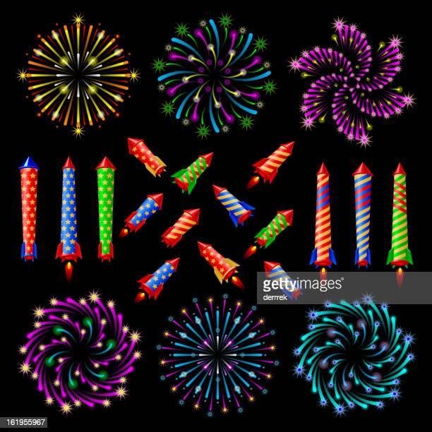 firework pyrotechnics set - arugula stock illustrations, clip art, cartoons, & icons