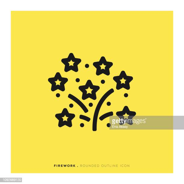 firework rounded line icon - happy new month stock illustrations