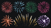 Firework set isolated vector