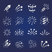 Firework white icon set with  burst