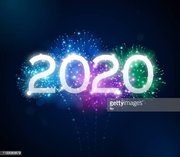 stockillustraties, clipart, cartoons en iconen met vuurwerk 2020 nieuwjaar viering - 2020