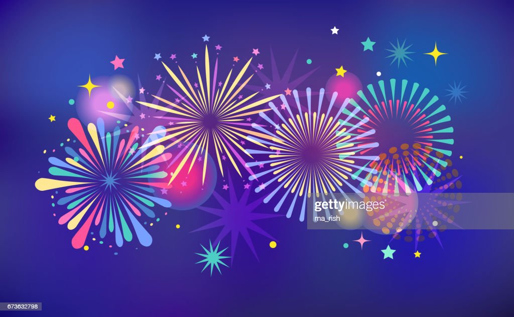 Fireworks and celebration background, winner, victory poster and banner