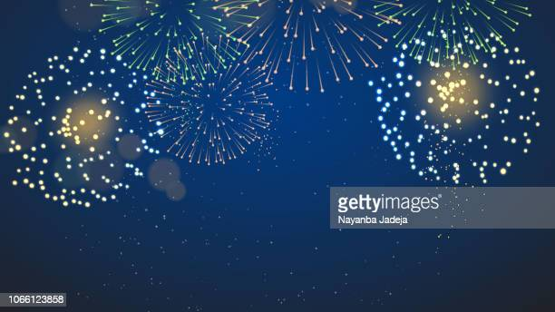 fireworks and crackers vector illustration - celebration stock illustrations