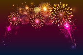 fireworks background with space for text. illustration vector.