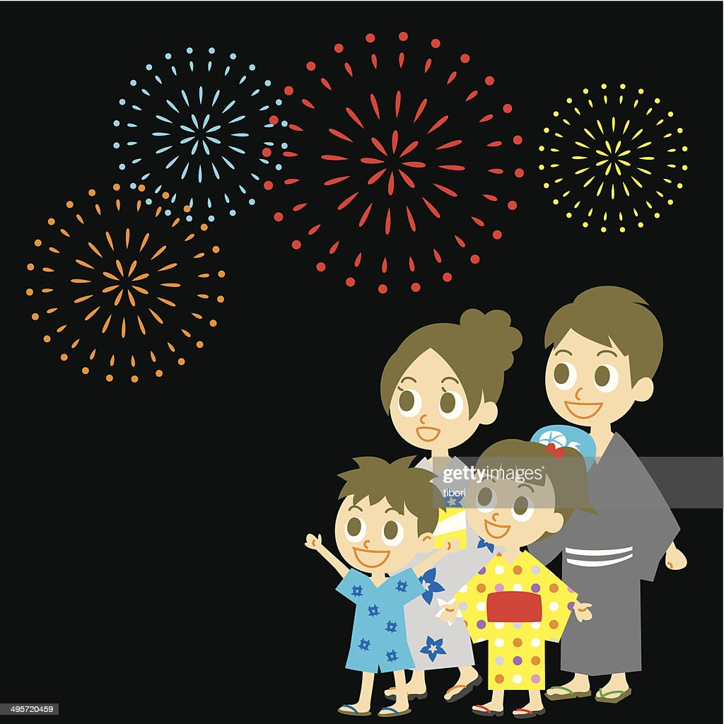 Fireworks display in Japan, Family in yukata, kimono for summer