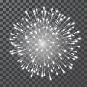 Fireworks. Festival white firework. Vector llustration on transparent background