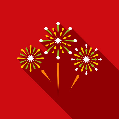 Fireworks Flat Design Mexico Icon with Side Shadow - gettyimageskorea