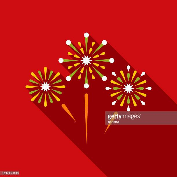 Fireworks Flat Design Mexico Icon with Side Shadow