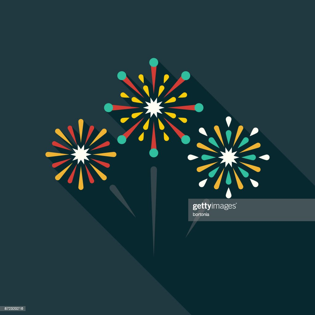 Fireworks Flat Design Party Icon with Side Shadow