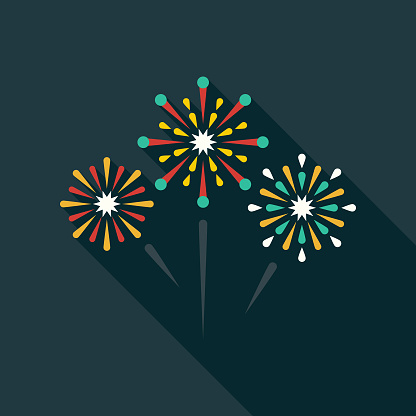 Fireworks Flat Design Party Icon with Side Shadow - gettyimageskorea