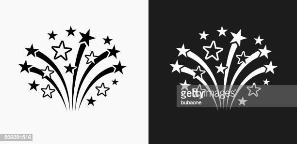 ilustrações, clipart, desenhos animados e ícones de ícone de fogos de artifício em preto e branco vector backgrounds - clip art