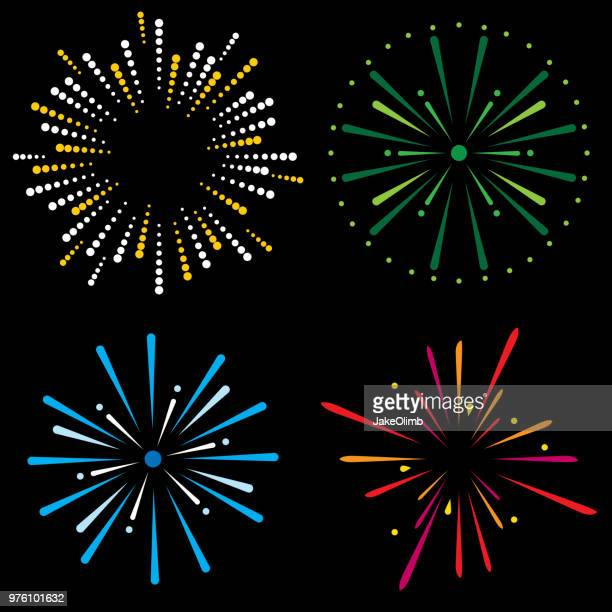 fireworks icon set - igniting stock illustrations