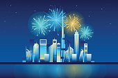 Fireworks in Dubai city