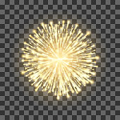 Fireworks on transparent background. Festival gold firework. Vector llustration