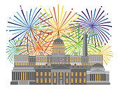 Fireworks over Washington DC Monuments Landmarks Collage color Illustration