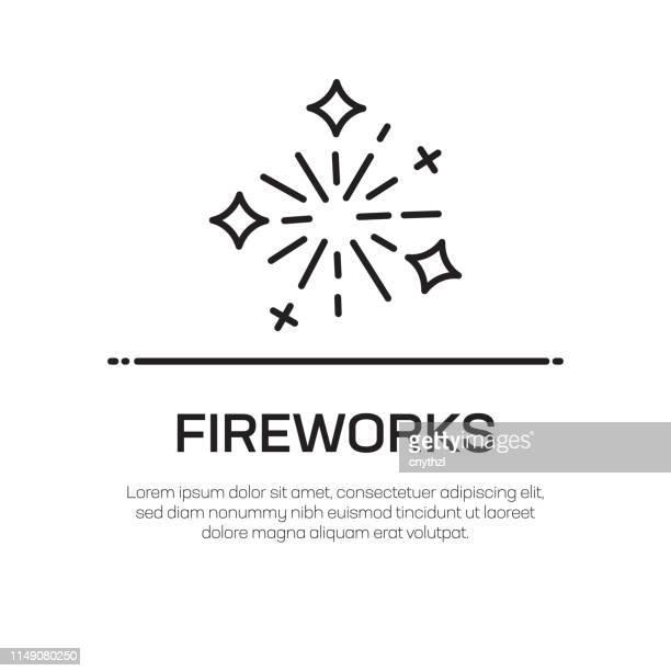 fireworks vector line icon - simple thin line icon, premium quality design element - fun stock illustrations