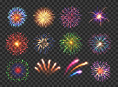 Fireworks with brightly shining sparks