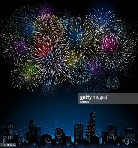 花火と街のスカイライン - 花火点のイラスト素材/クリップアート素材/マンガ素材/アイコン素材