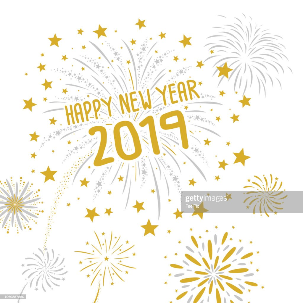 Fireworks with Happy new year 2019 on white background vector illustration