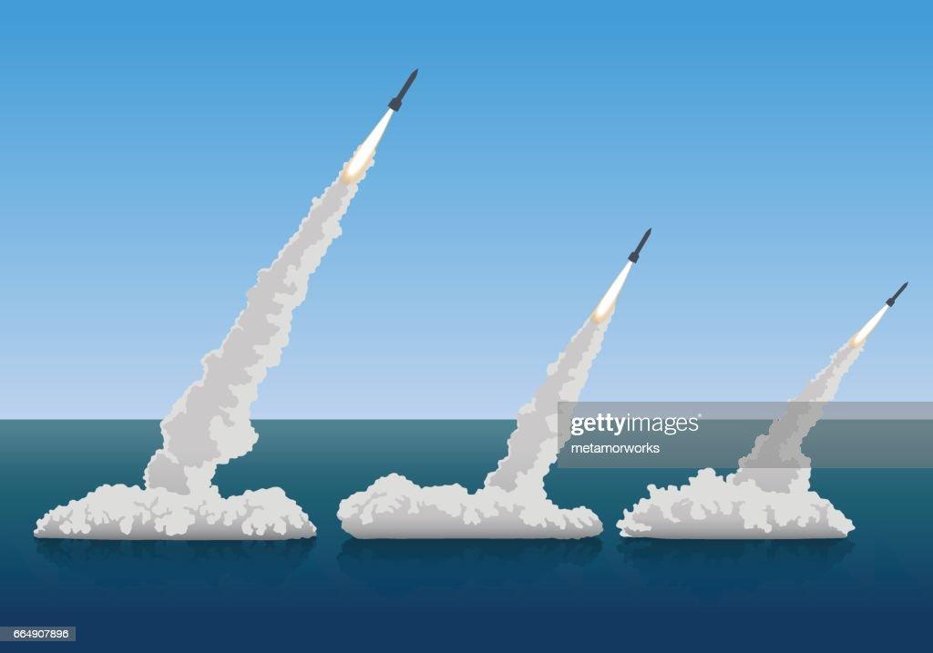 firing missiles, vector illustration