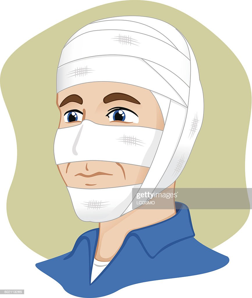 First Aid bandage with bandage on head