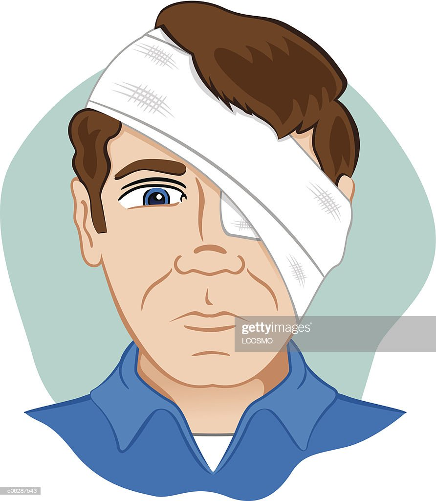 First aid dressing bandages with bandage on head and eye