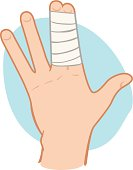 First Aid dressing with bandages on fingers