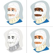 First Aid dressing with bandages on head and neck collar