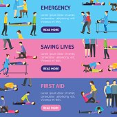 First Aid Emergency Help with People Banner Horizontal Set. Vector