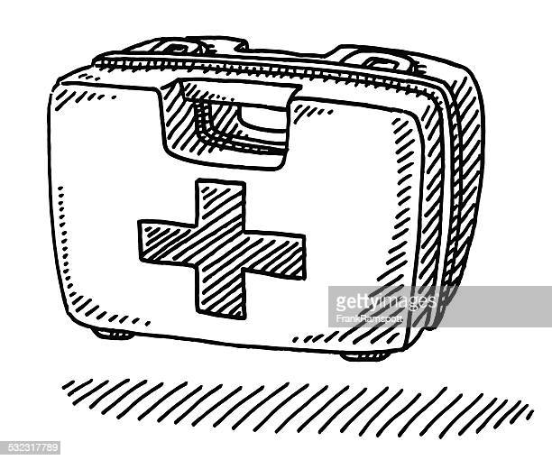 first aid kit box drawing - accidents and disasters stock illustrations, clip art, cartoons, & icons