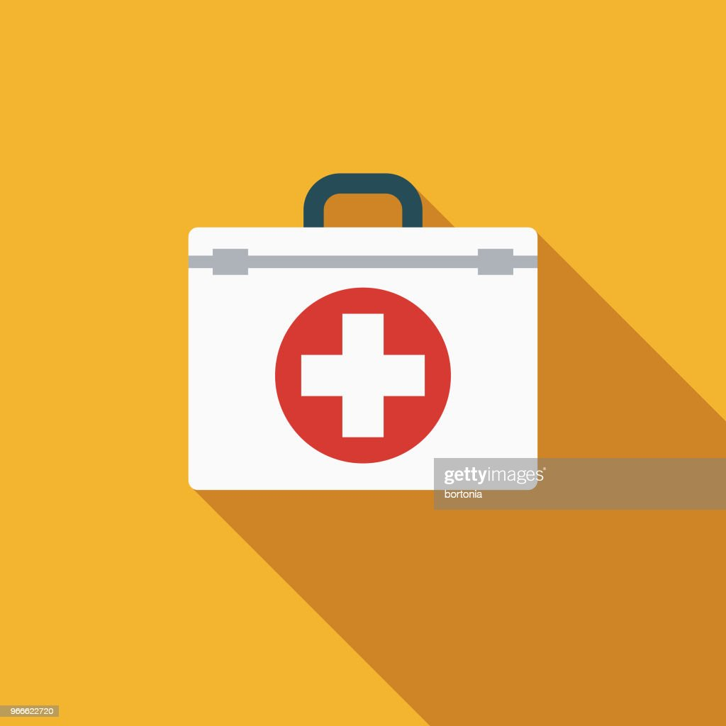 First Aid Kit Flat Design Emergency Services Icon stock