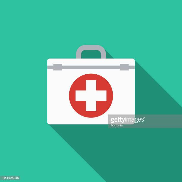 First Aid Kit Flat Design Medical Supplies Icon with Side Shadow