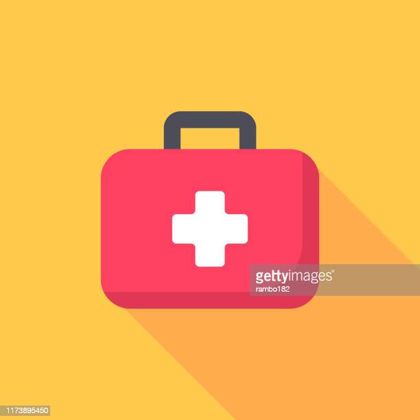 first aid kit flat icon. pixel perfect. for mobile and web. - first aid stock illustrations