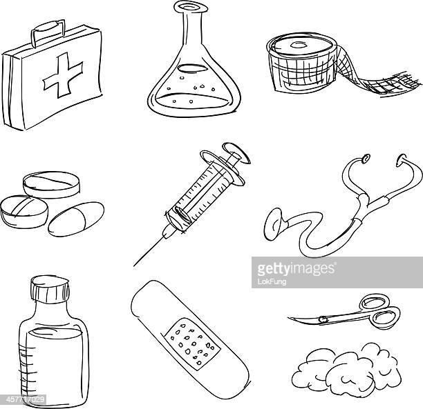 ilustraciones, imágenes clip art, dibujos animados e iconos de stock de kit de primeros auxilios en estilo boceto - medicamento