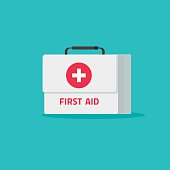 First aid kit isolated vector illustration, flat cartoon medical or pharmacy emergency kit icon, physician healthcare bag pack idea, medic box