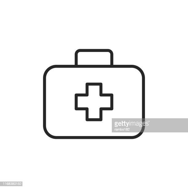 first aid kit line icon. pixel perfect. for mobile and web. editable stroke. - first aid stock illustrations