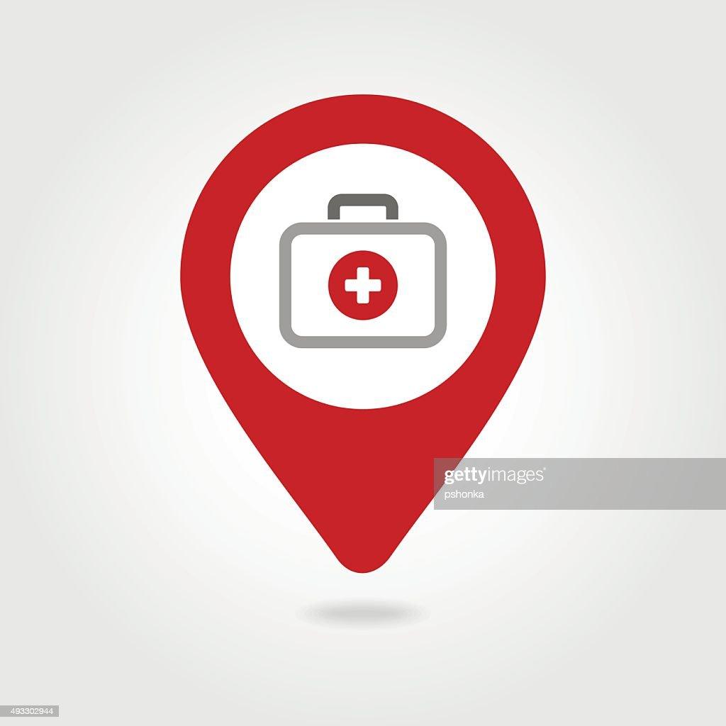 First aid kit map pin icon