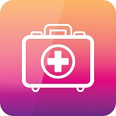 First aid kit outline icon. Summer. Vacation
