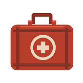 First aid kit. Red medicine chest with white cross. Vector flat icon illustration, isolated on white background.