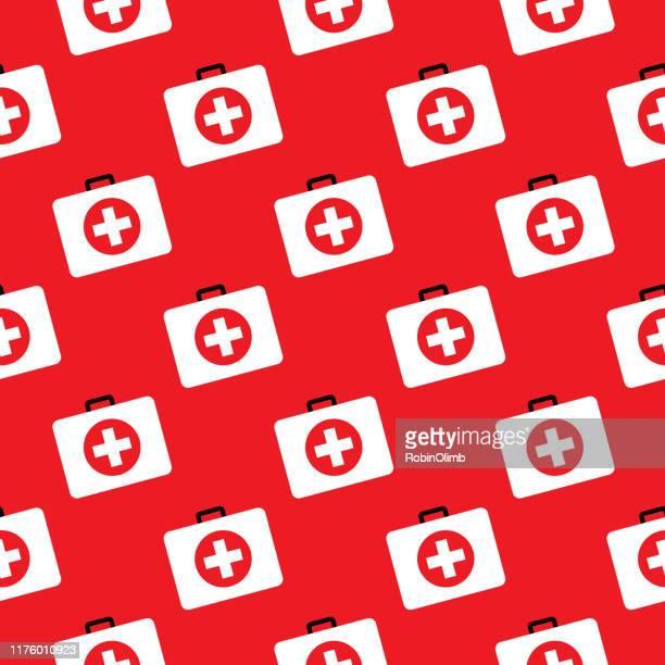 stockillustraties, clipart, cartoons en iconen met ehbo-kit naadloze patroon - red