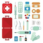 First aid kit. Set with medical equipment. Flat style icons.