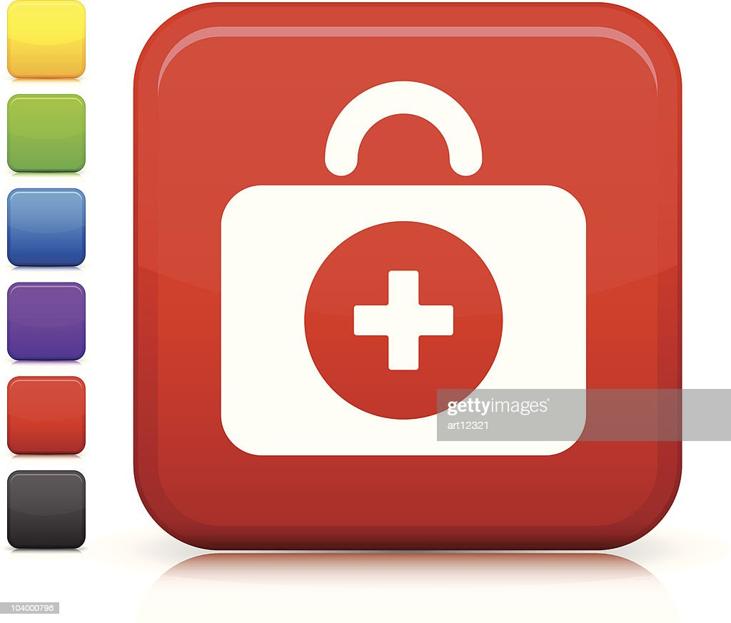 first aid kit square internet button icon