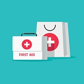 First aid kit vector illustration, flat cartoon medical bag with case