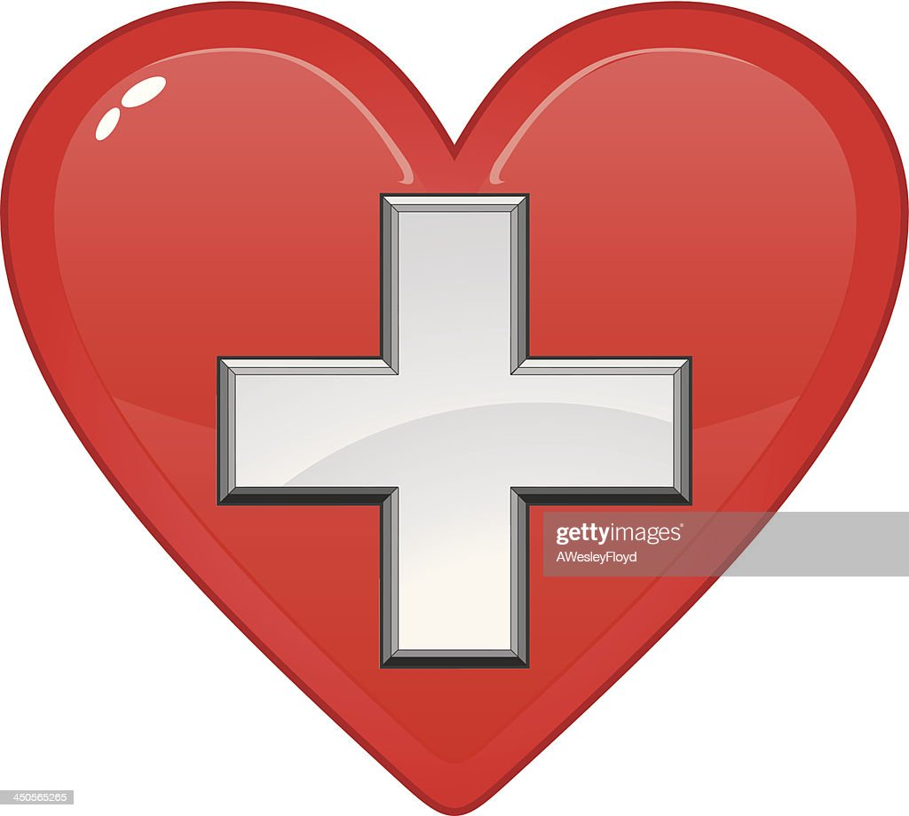 First Aid Medical Symbol In Heart Vector Art Getty Images