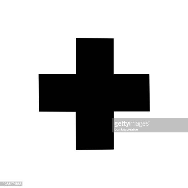 first aid sign icon vector design - cross stock illustrations