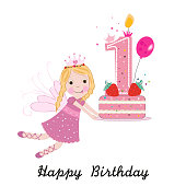First birthday greeting card. Cute fairy holding cake vector background