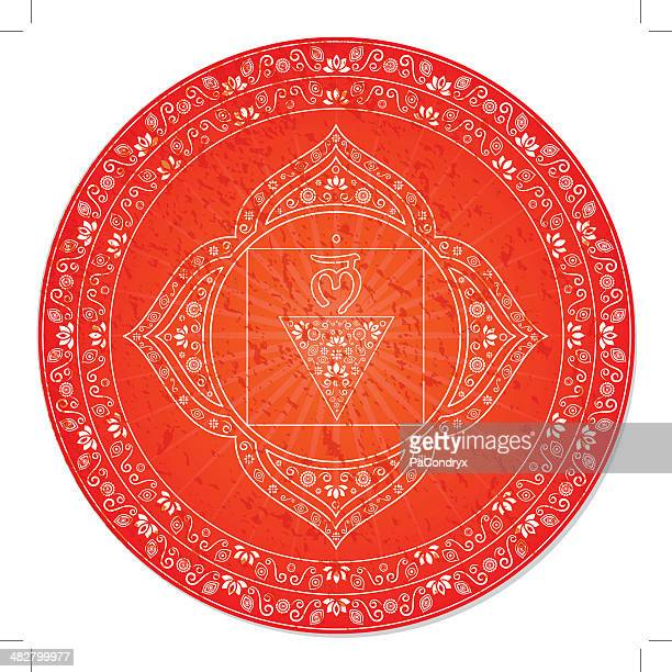 first chakra decorative - chakra stock illustrations, clip art, cartoons, & icons